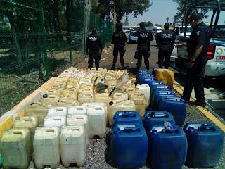 Decomisan combustible robado durante operativo en la México-Puebla