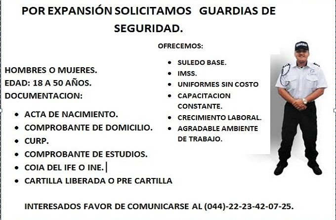 vacante solicitan guardias de seguridad